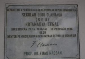 Prasasti Pembangunan Gedung SGO Negeri Tegal, tanggal 18 Februari 1986